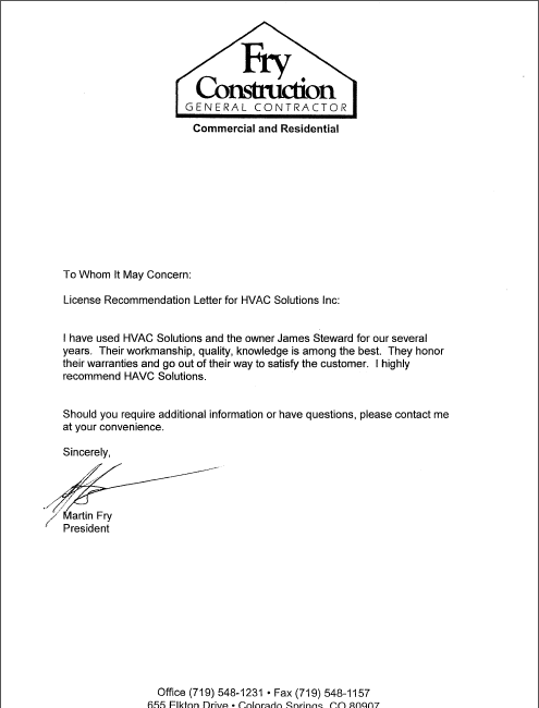 Letters Of Recommendation Hvac Solutions